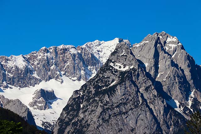 Zugspitze, a mountain view with sunshine and snow